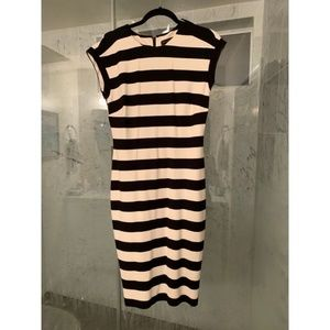 Black and White Striped Fitted Dress